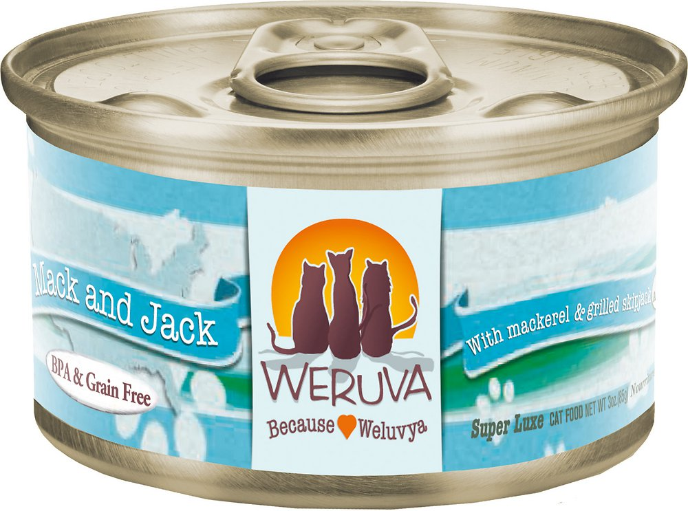Weruva Grain-Free Mack and Jack with Mackerel & Grilled Skipjack Canned Cat Food 3z, 24