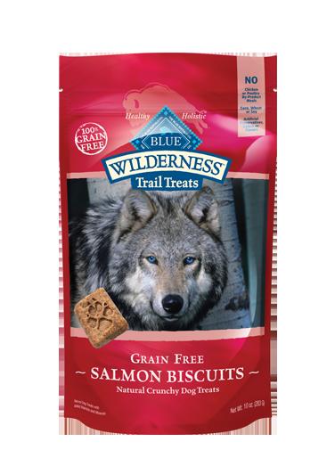 Blue Buffalo Wilderness Trail Treats Salmon Biscuits Grain-Free Dog Treats 10z