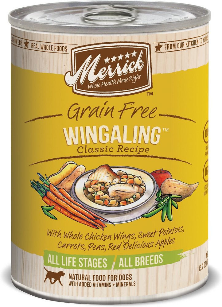 Merrick Classic Grain-Free Wingaling Recipe Canned Dog Food 13.2, 12