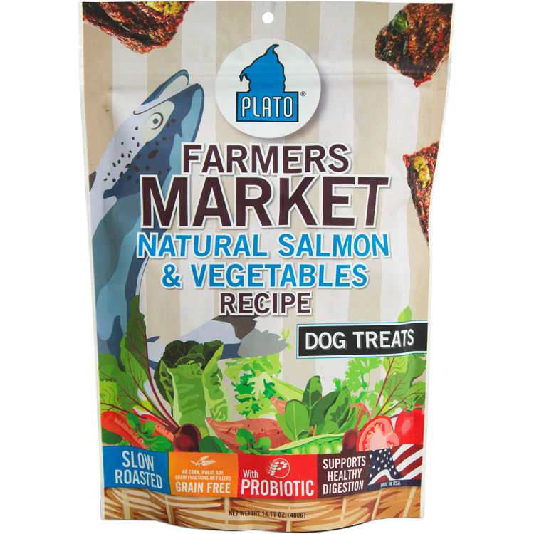 Plato Farmers Market Natural Salmon & Vegetables Dog Treats 14.1z