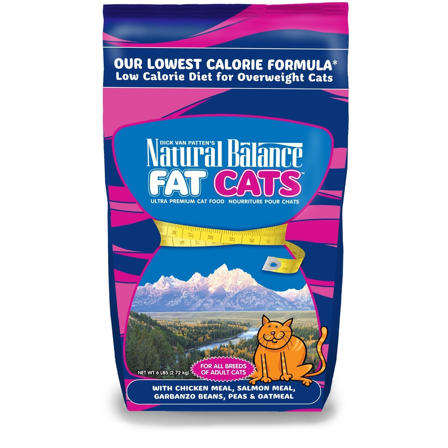 Natural Balance Fat Cats with Chicken Meal, Salmon Meal, Garbanzo Beans, Peas & Oatmeal Dry Cat Food 6lbs
