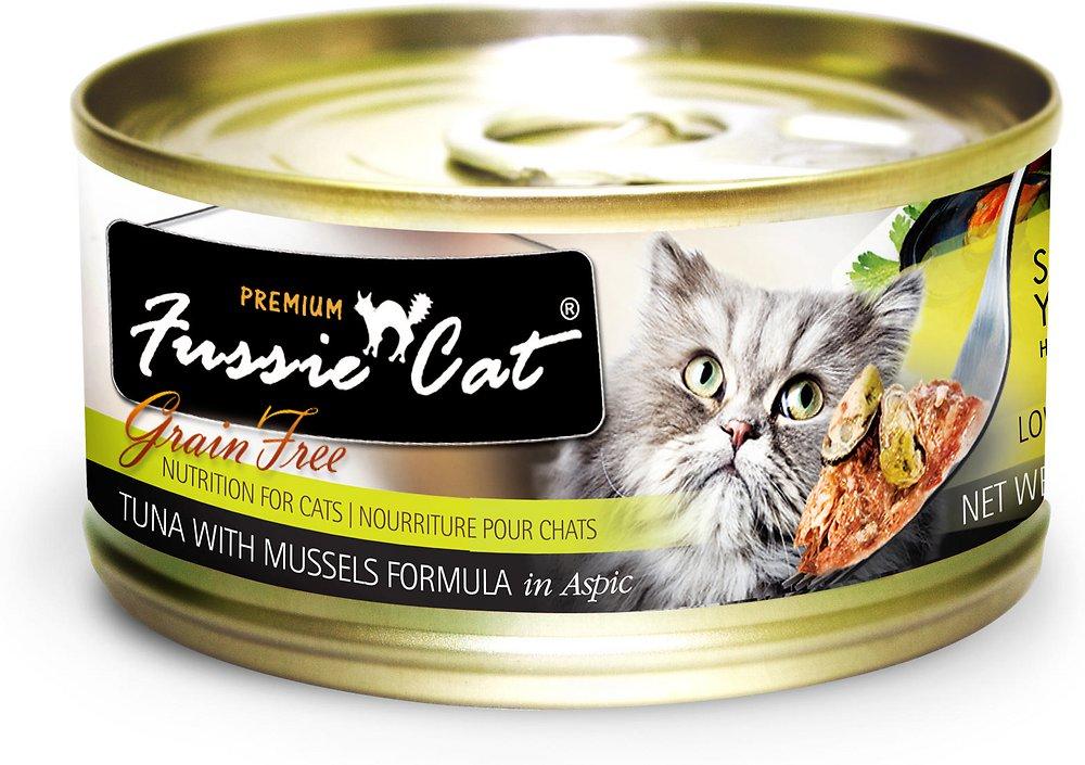 Fussie Cat Premium Grain-Free Tuna with Mussels Formula in Aspic Canned Cat Food 2.8z, 24