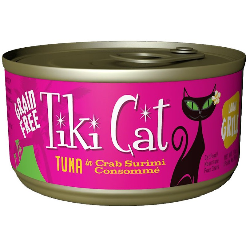 Tiki Cat Grain-Free Lanai Grill Tuna in Crab Surimi Consomme Canned Cat Food 2.8z, 12