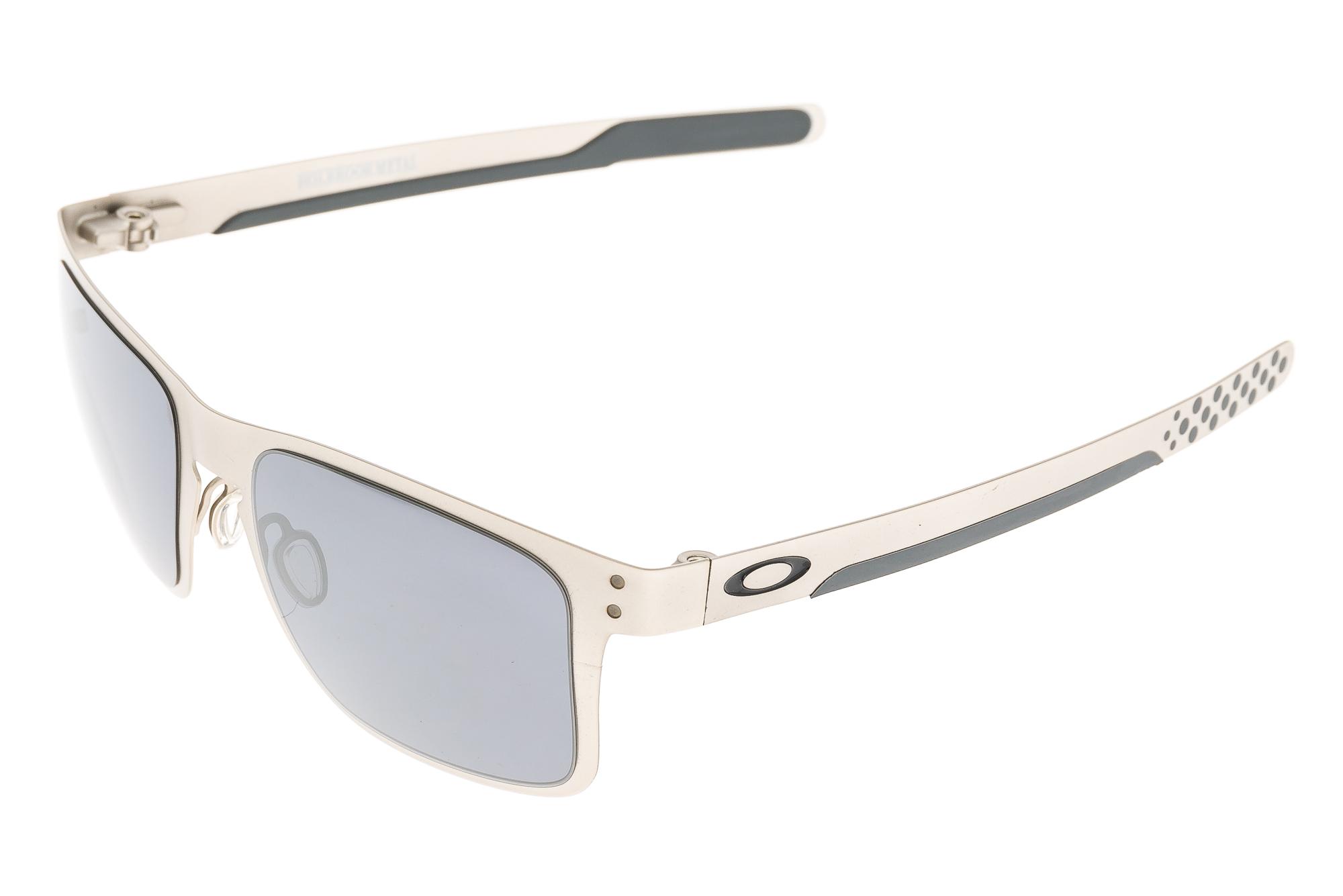 5c3d96317b6 Details about Oakley Holbrook Metal Sunglasses Satin Chrome Frame Black  Iridium Lens