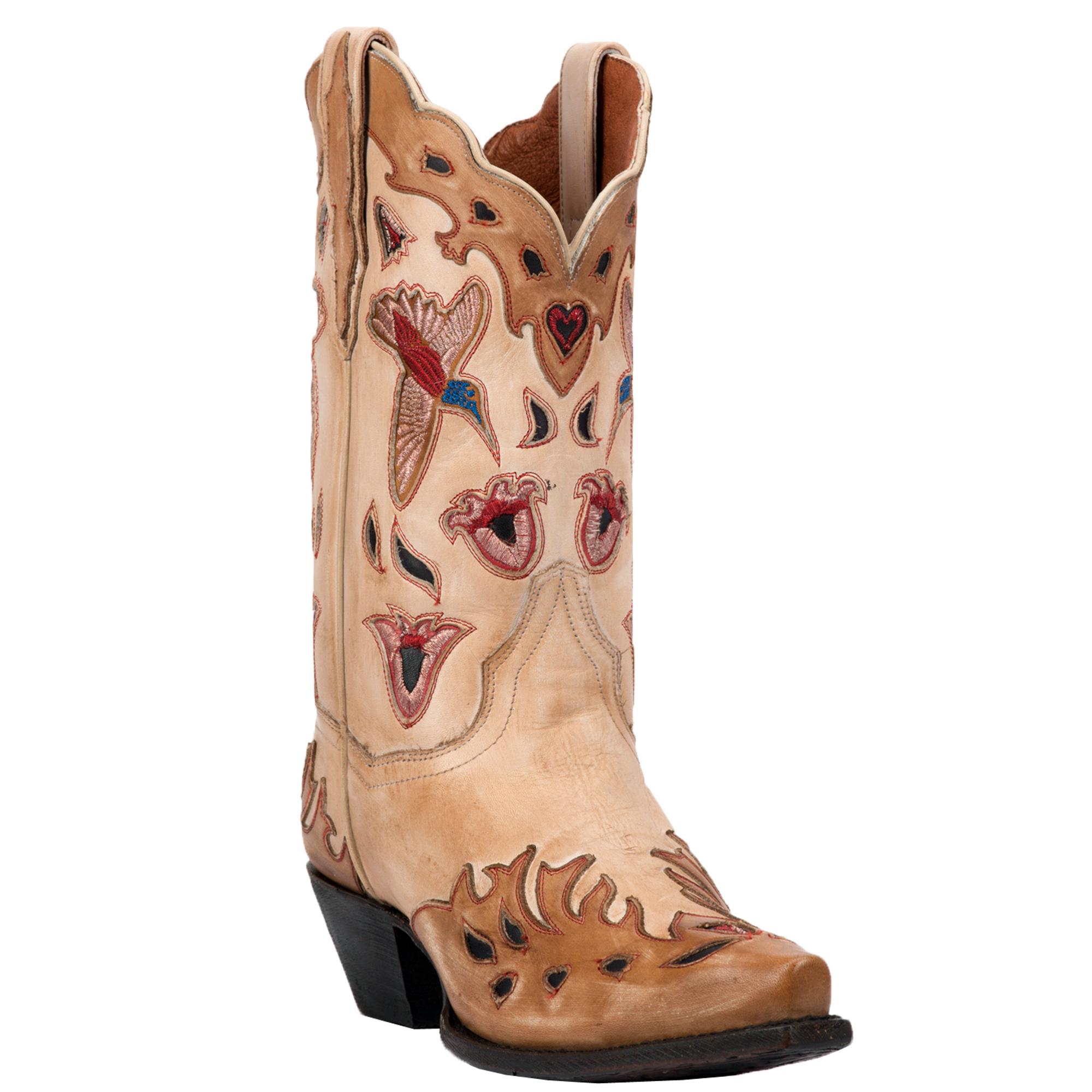 Dan Post Womens Bone Cowboy Boots Leather Snip Toe