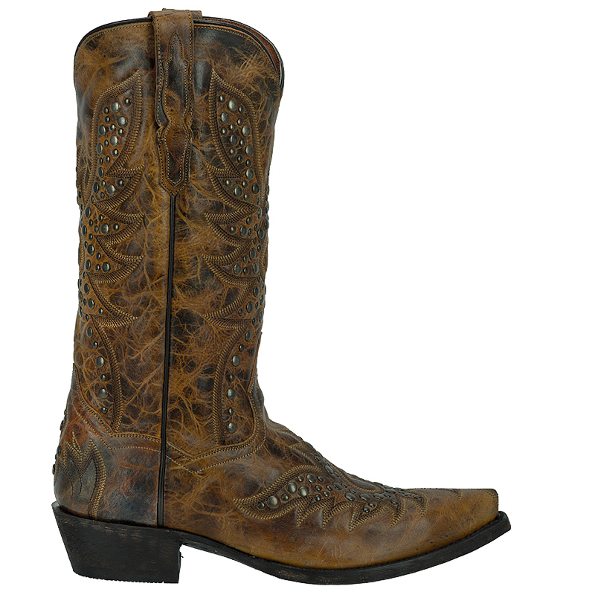 dan post mens flat leather cowboy boots studded