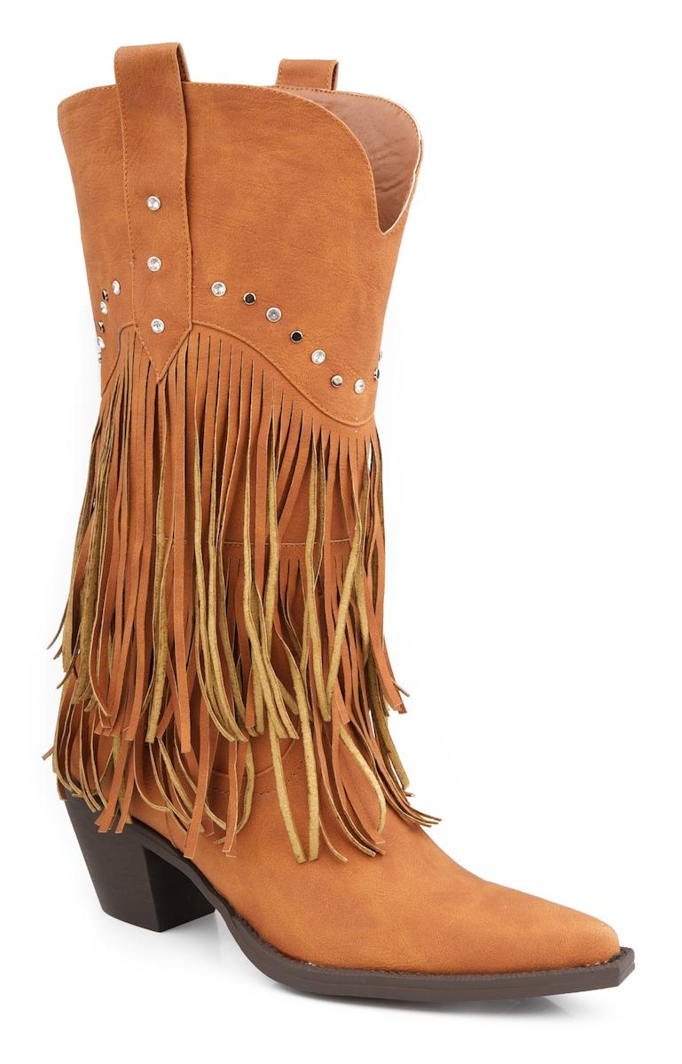 roper womens distressed faux leather 12 034 fringe stud