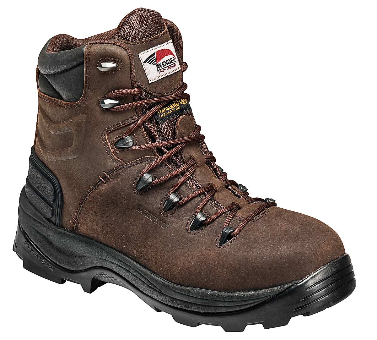 Avenger Mens Composite Toe EH Insulated WP Boot W Brown Leather