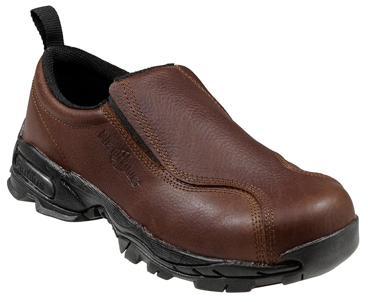 Zapatos De Cuero Nautilus para hombre Athletic Sin Cordones Puntera De Acero  Marrón W