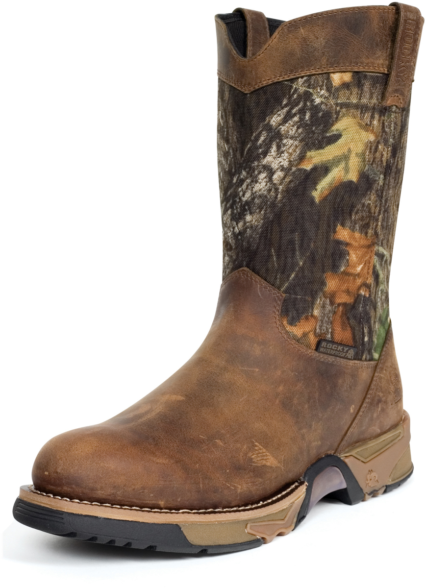 Rocky Mens Brown Leather Aztec Waterproof Camo Pull On Cowboy Boots
