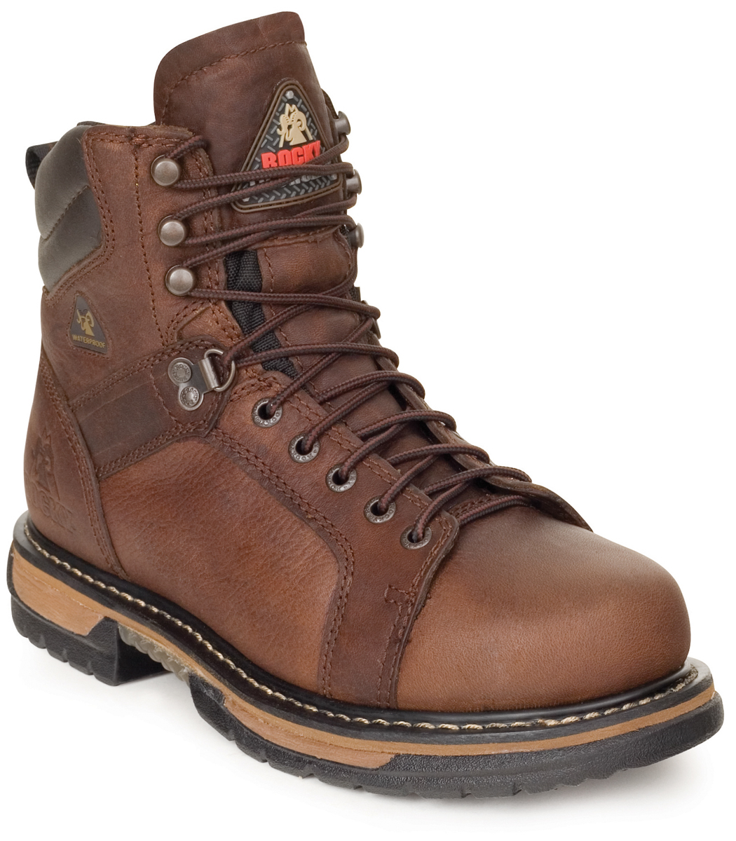dde0dabb524 Details about Rocky Mens Brown Leather Ironclad Waterproof Lace-to-Toe Work  Boots