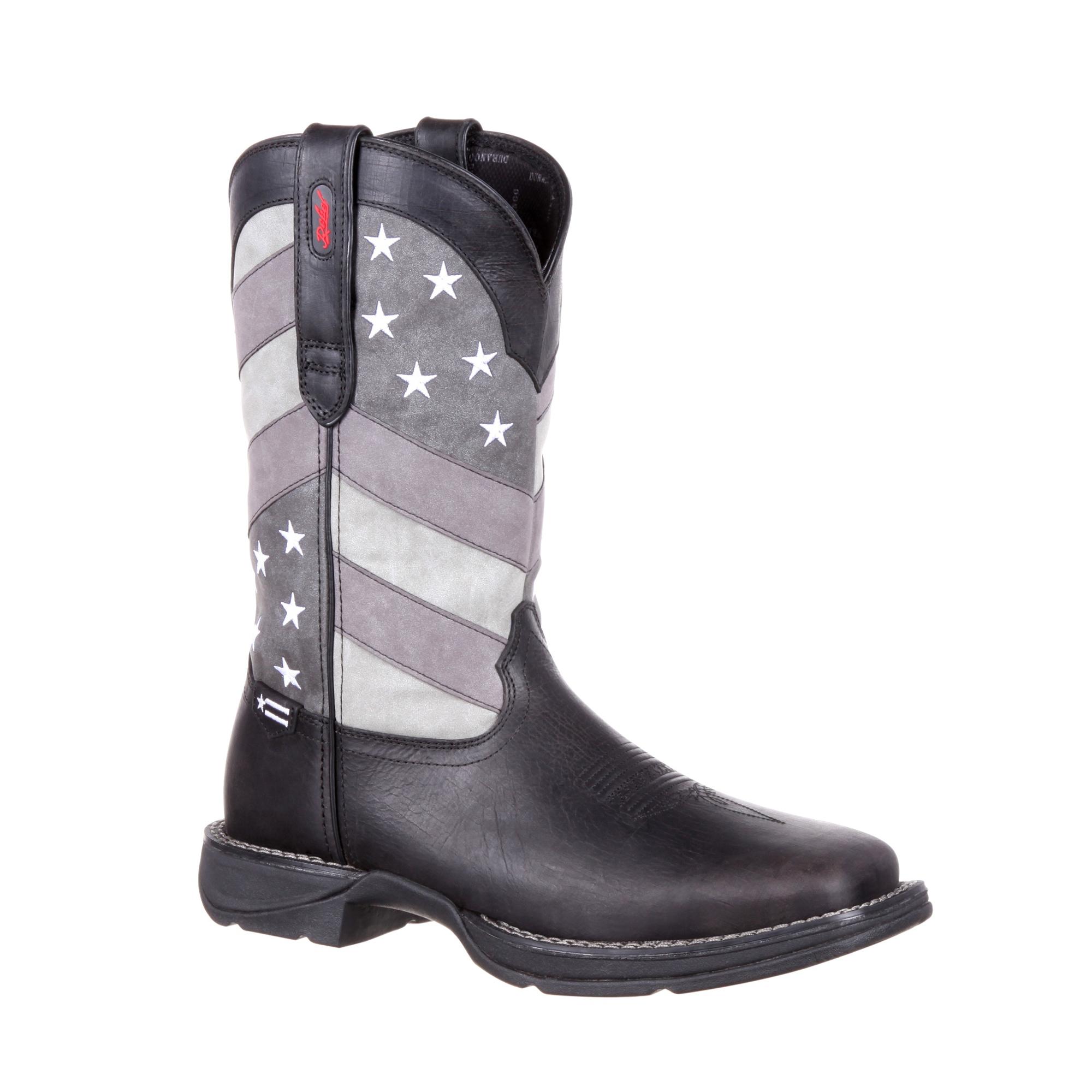 Durango Mens Black Charcoal Leather Faded Flag Cowboy Boots