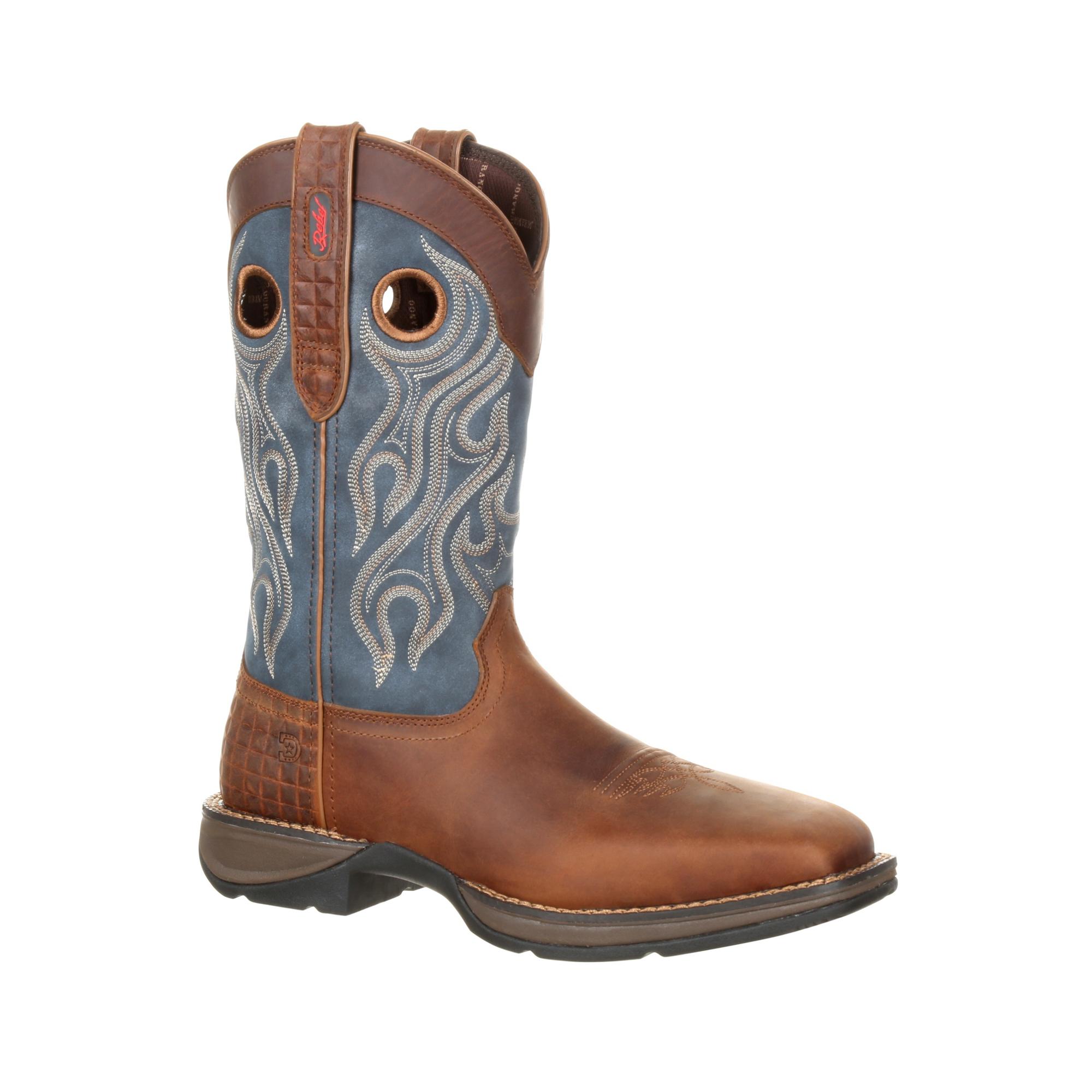 Durango Mens Dark/Blue Denim Leather ST PullOn Work Boots