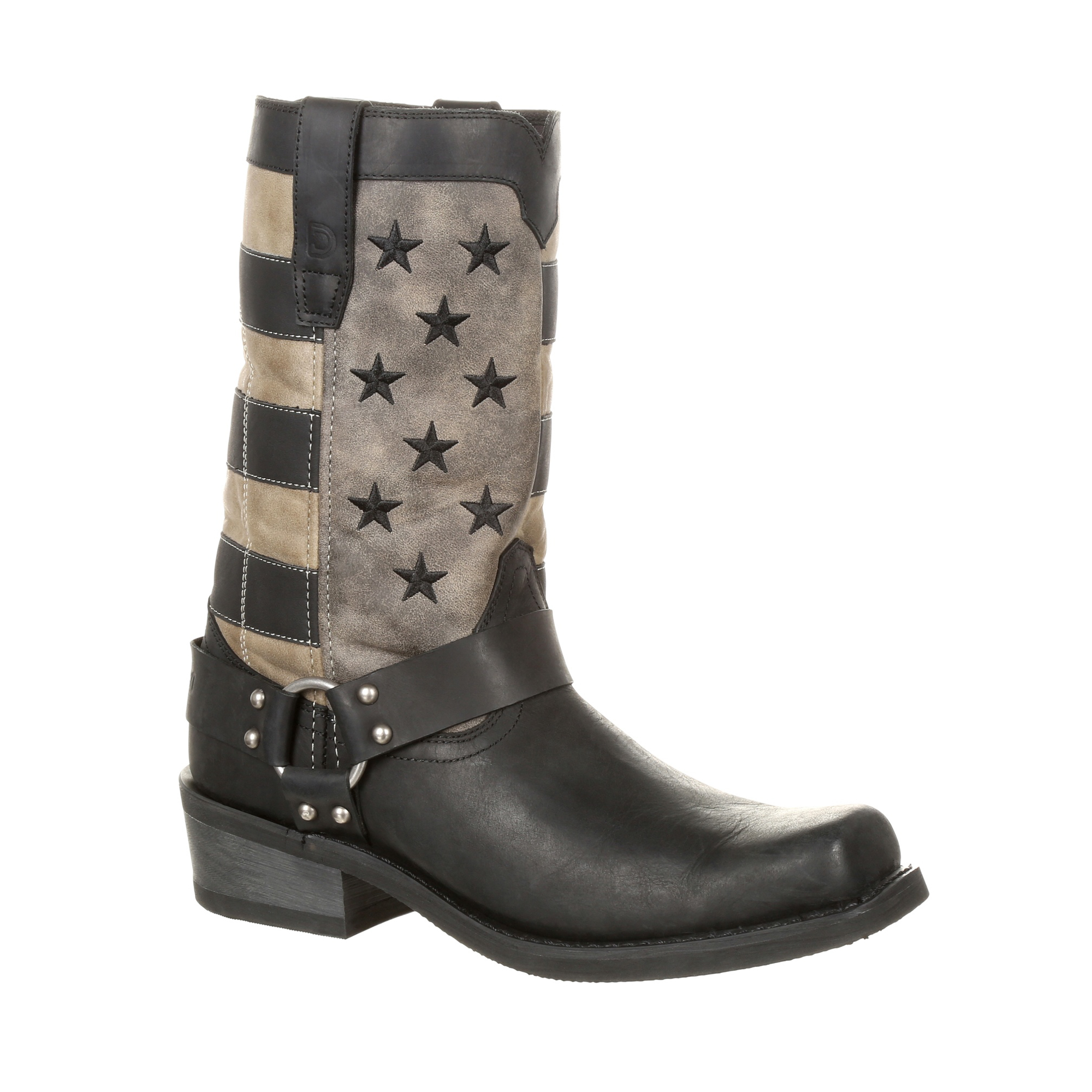 Durango Mens Black Charcoal Leather Faded Flag Motorcycle Boots