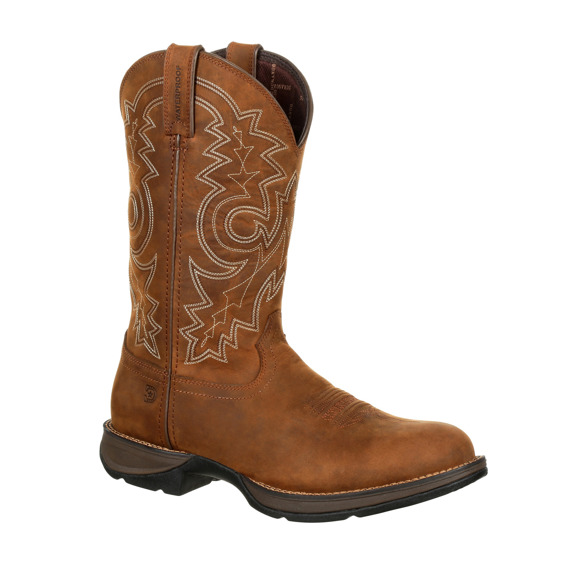 Durango Mens Coyote Brown Leather WP Rebel Cowboy Boots