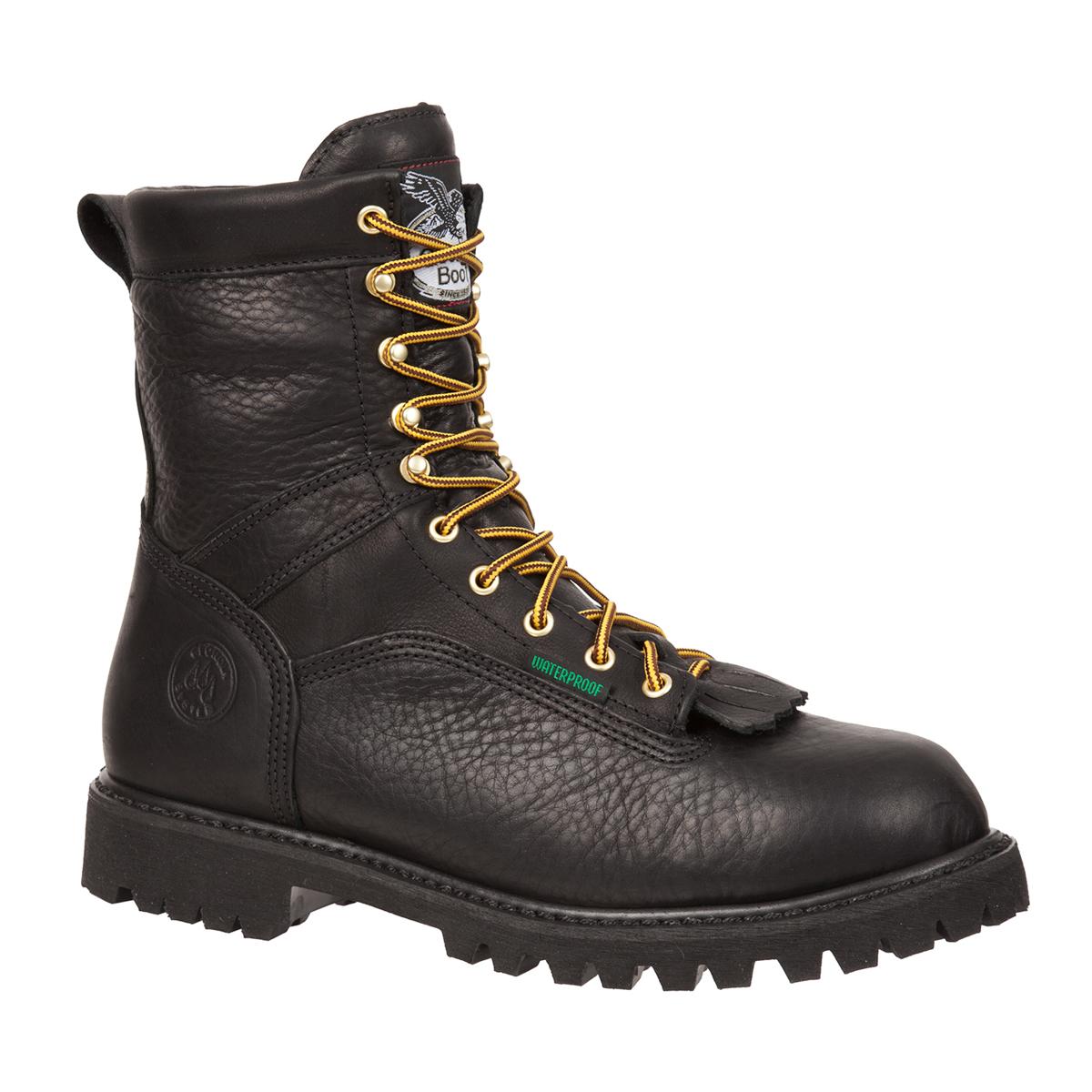 Image is loading Georgia-Mens-Black-Leather-Waterproof-Low-Heel-Logger-