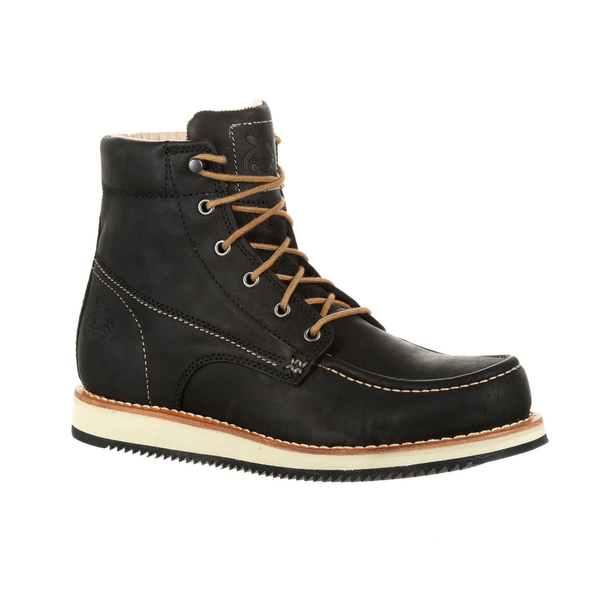 Georgia Mens Black Leather Small Batch Wedge Ankle Boots
