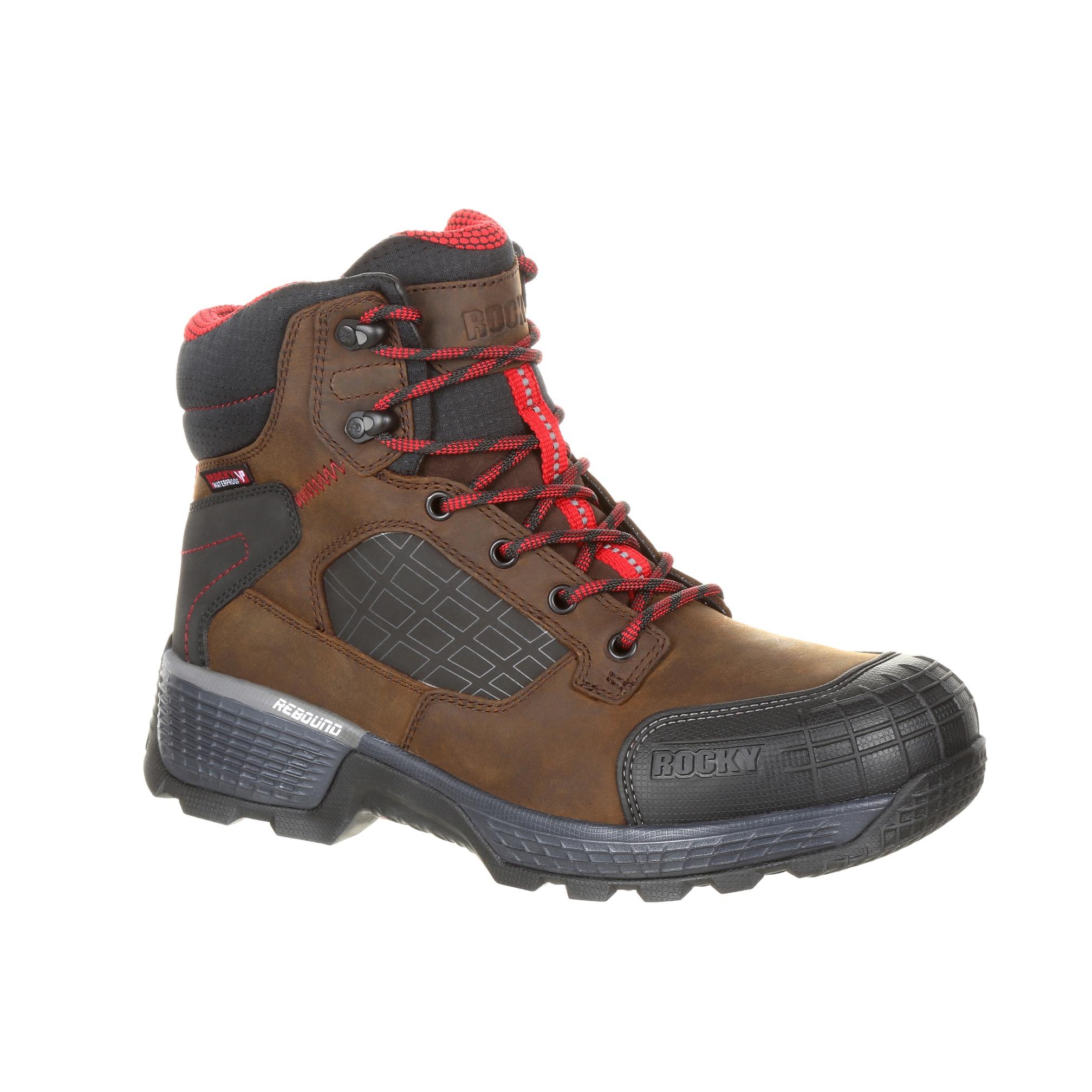 Rocky Mens Dark Brown Leather Treadflex WP Work Boots