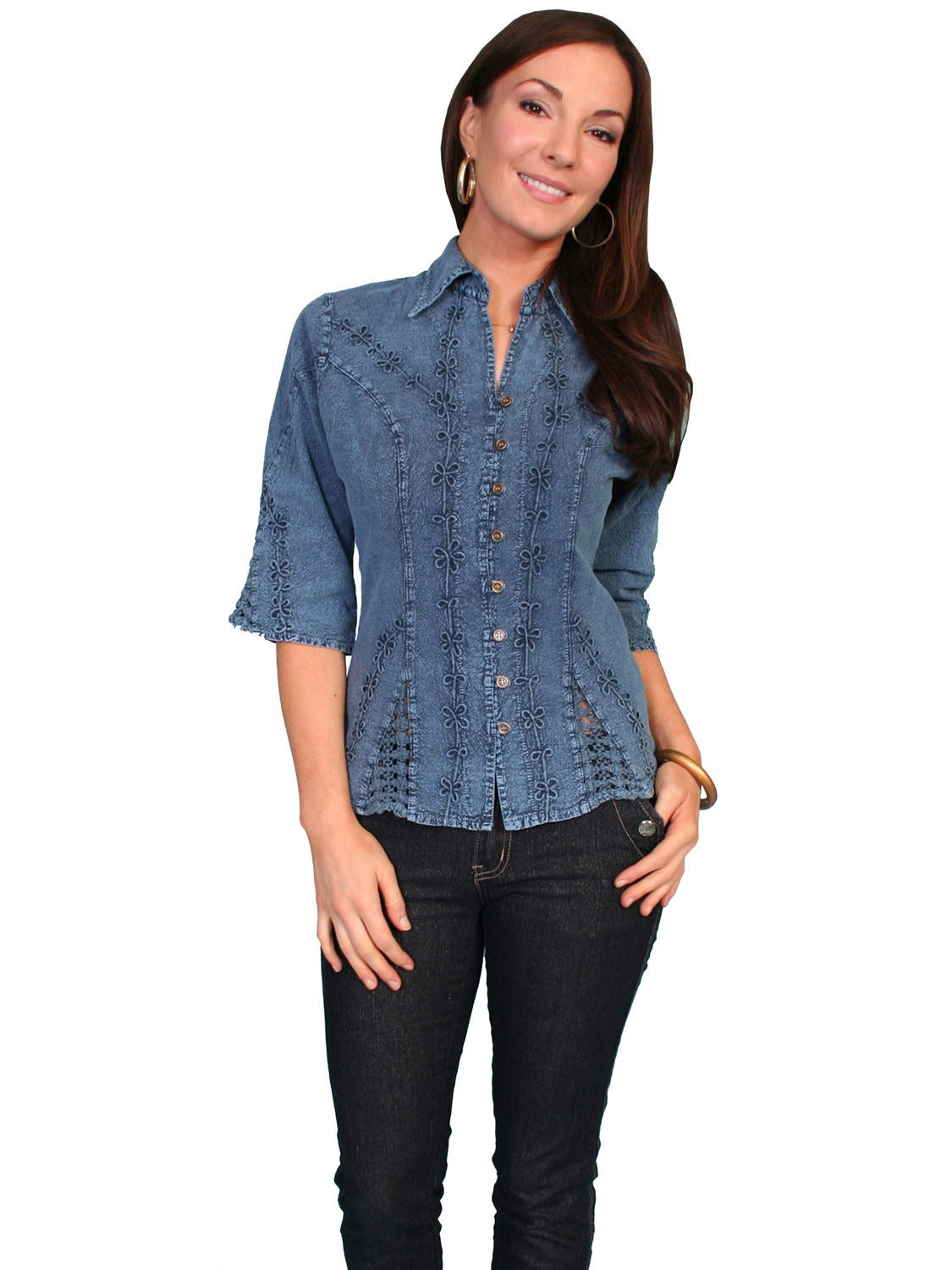 cc070ffcd9ad Scully Cantina Womens Dark Blue 100% Cotton 3/4S Floral Vine Blouse;  Picture 2 of 2
