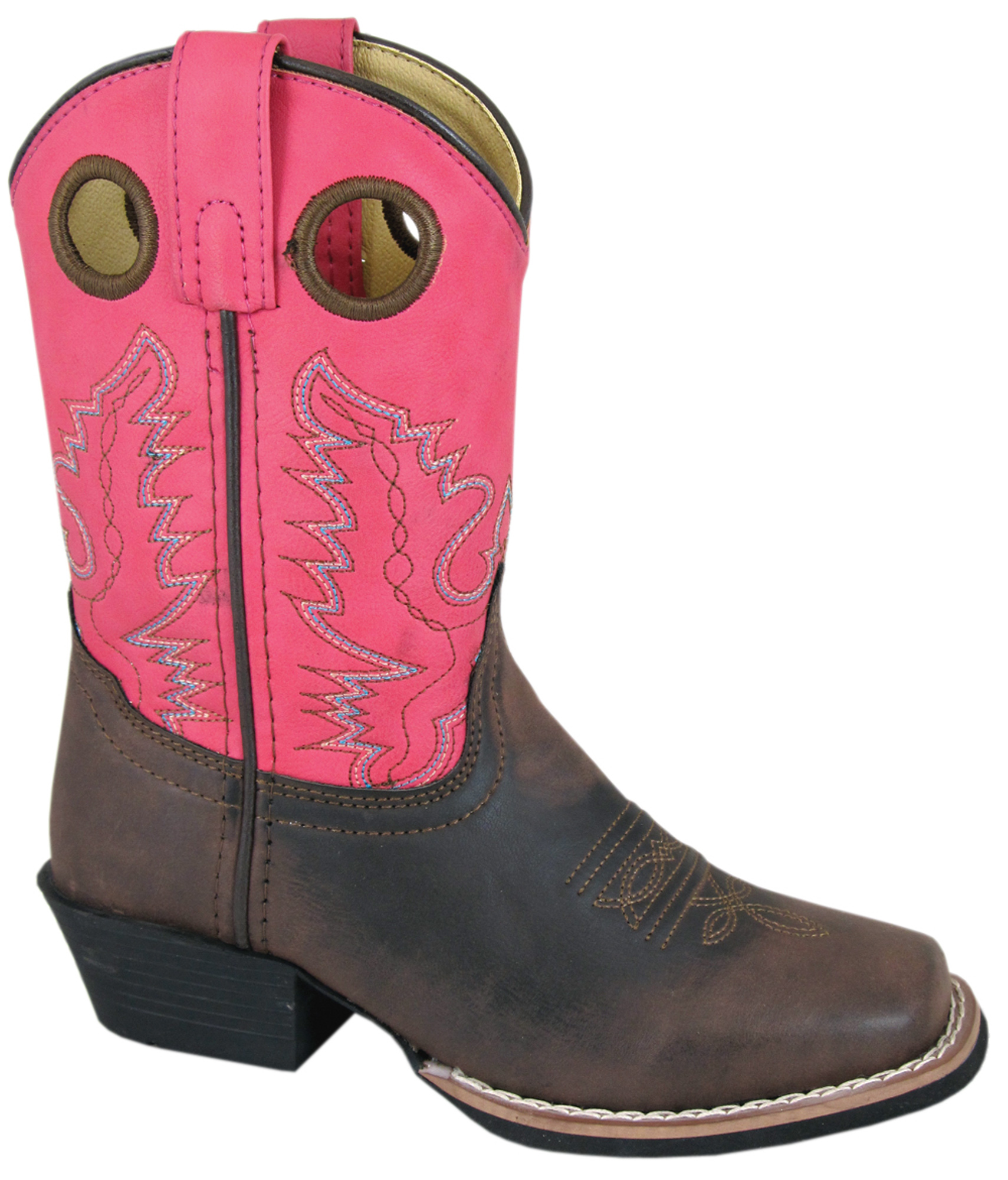 smoky mountain boots youth brown pink faux