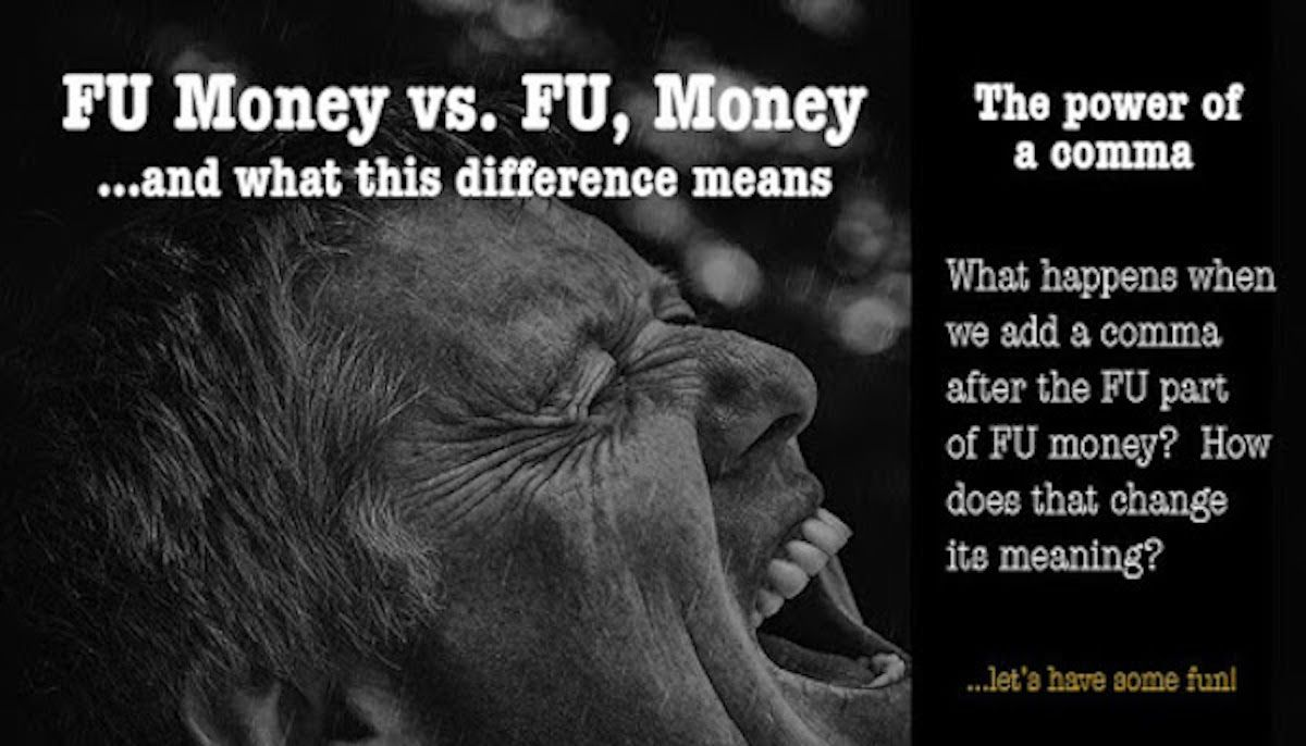 "Man screaming with a text overlay that reads, ""FU Money vs. FU, Money"""