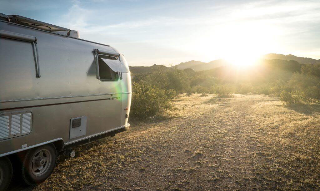 Airstream RV camper on a dirt road