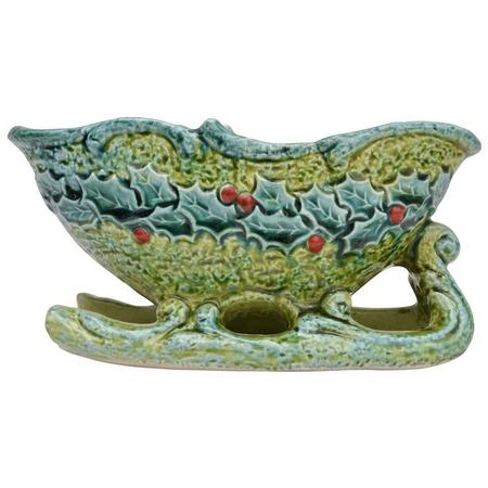 napcoware bitossi style ceramic Christmas sleigh planter or candy dish