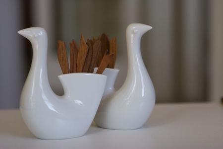 Otagiri Porcelain Bird Teak Pick Holders
