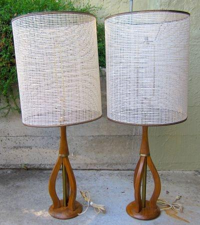 Pair Walnut Sculptural Lamps