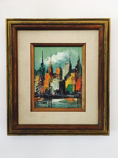 Mid Century City Skyline Painting