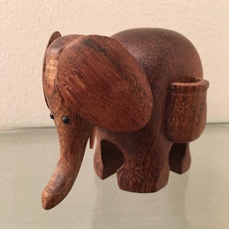 Teak Elephant Toothpick Holder