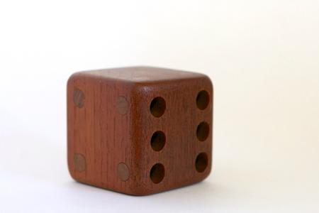 Teak Wood Dice Cube Pencil Holder