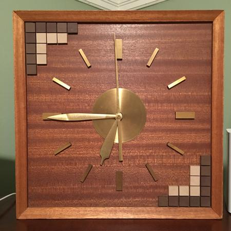 Walnut & Tile Clock