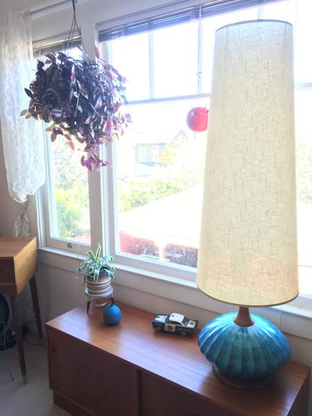 50s Blue Ceramic Lamp with Conical Shade