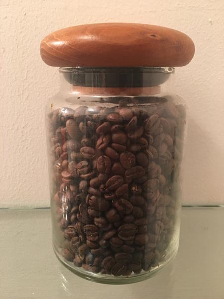 Teak Glass Jar, Seen with Catahoula's Lola whole beans sealed to lock in perfection!