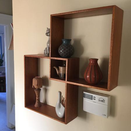 Walnut Wooden Geometric Shelf
