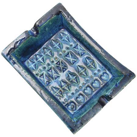 bitossi italy rimini blue ceramic ashtray