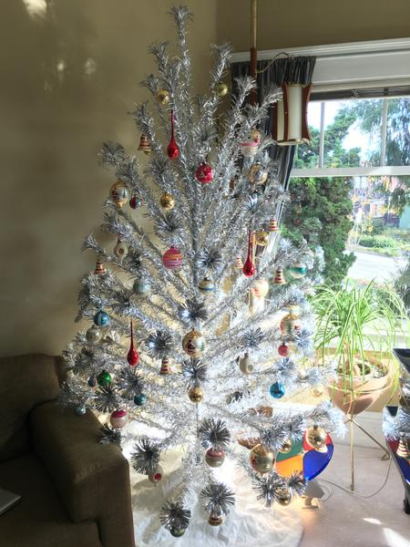 7 Ft PomPom Christmas Tree, After decorating the first year (2015)