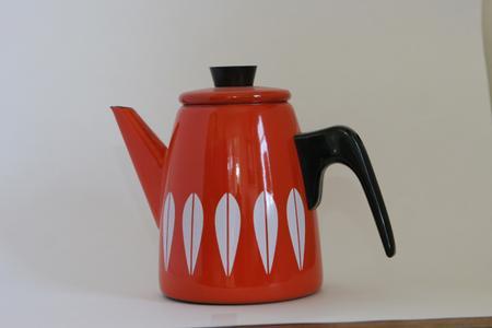 Enameled Orange & White Coffee Pot