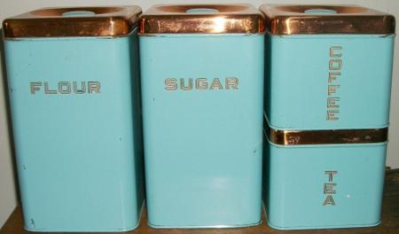 Lincoln Beautyware Canisters Turquoise with Copper Lids