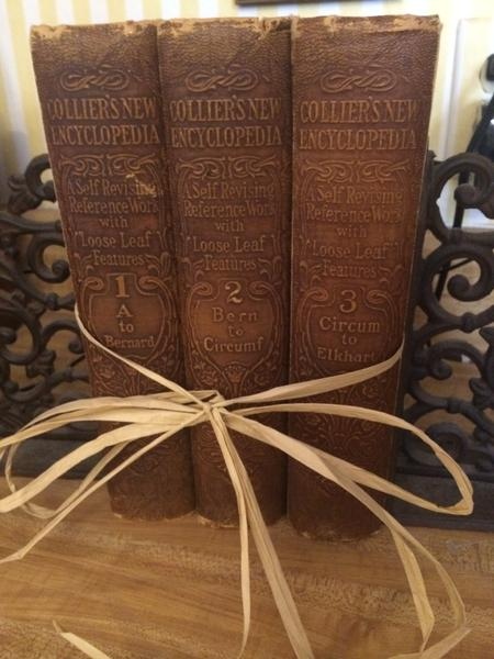 Collier's New Encyclopedia's , Bound in raffia as given to me by my daughter Sammi