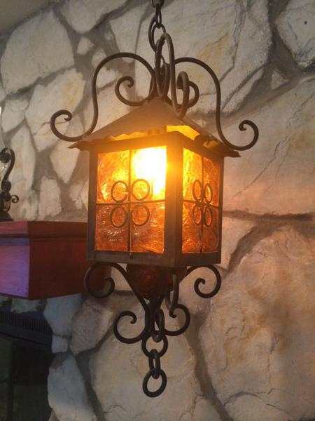 Craquelle Glass and Wrought Iron Light Fixture