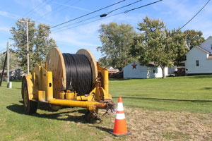 A spool of Wintek fiber cable in Linden, IN