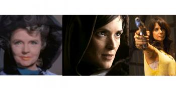 Jane Wyatt, Winona Ryder e Mia Kirshner que interpretam a mãe de Spock, Amanda Grayson