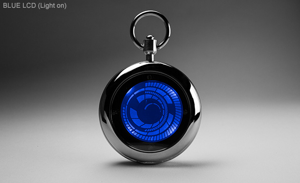 Touch screen pocket watch dual time date alarm kisai vortex pocket watch from tokyoflash japan for Vortix watches