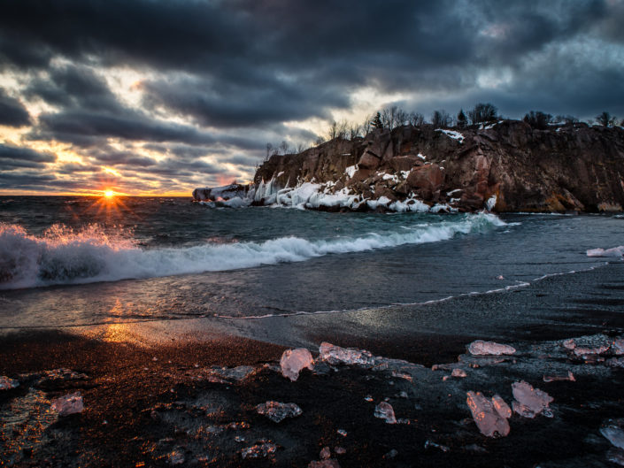 black beach ice