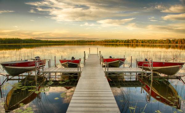 Boats on Lower Trelipe Lake