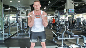 weight lifting EZ bar curls