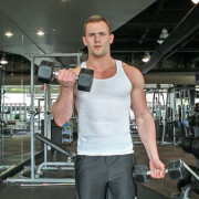 weight lifting dumbbell curls