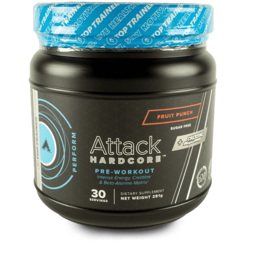 Attack Hardcore Pre-Workout with Beta-Alanine Fruit Punch Flavor